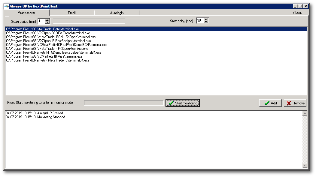 Main screeb of NextPointHost AlwaysUP Protection Software