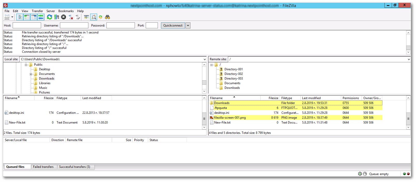 FileZilla FTP Client Main Window