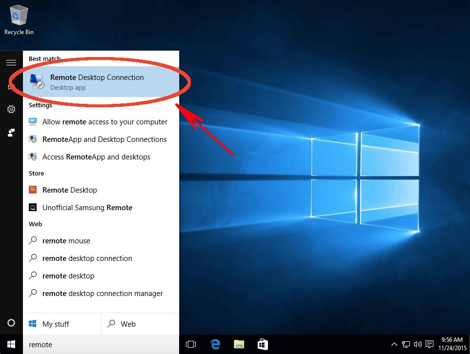 Find remote desktop application on Windows 10 start menu