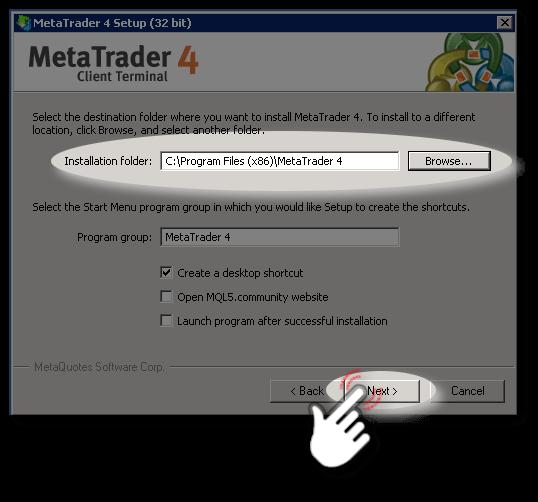 Second step of MetaTrader-4 Setup Wizard