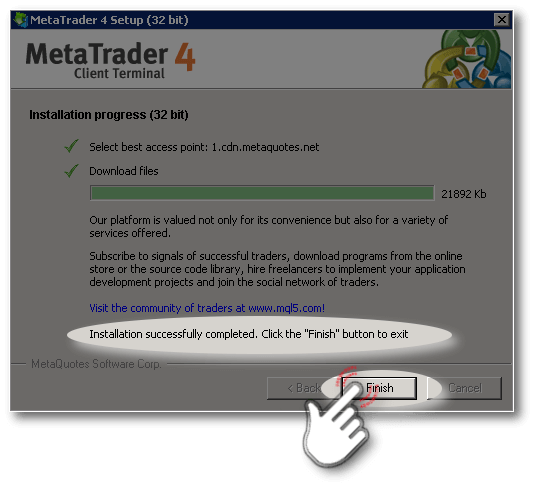 Final step of MetaTrader-4 Setup Wizard