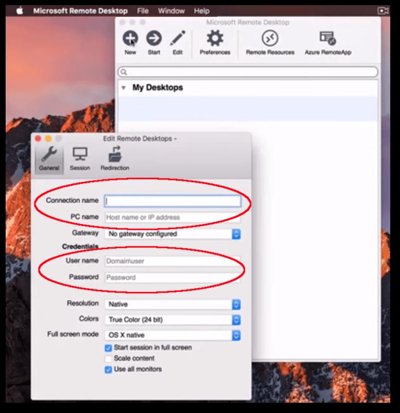 Remote Desktop Server credentials