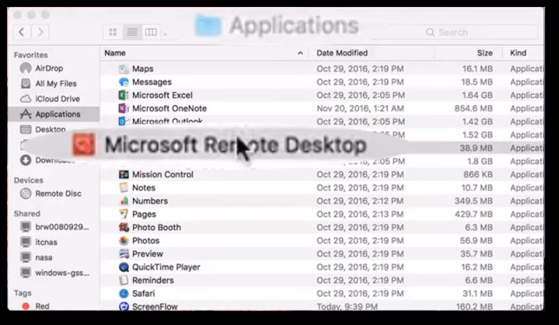 Double click on Microsoft Remote Desktop