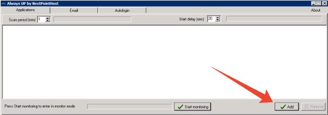 Add application inside AlwaysUP