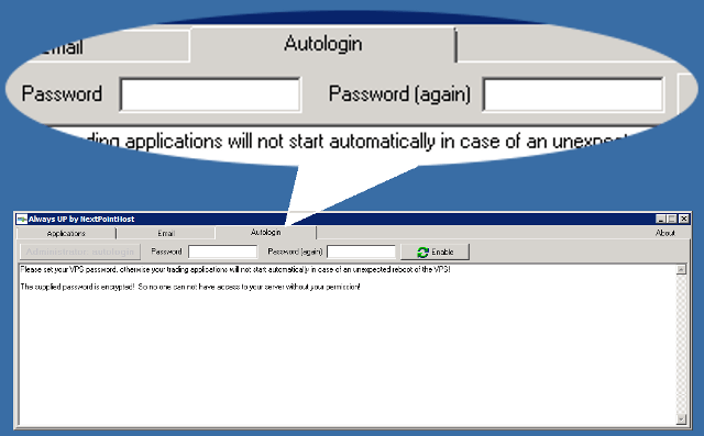 AlwaysUP Autologin tab