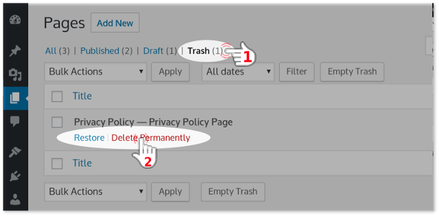 Delete Permanently WordPress Page from Trash