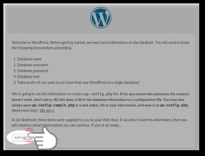 Let's go button of WordPress Installation Wizard