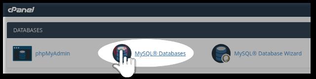 MySQL database menu inside cPanel web hosting account of NextPointHost