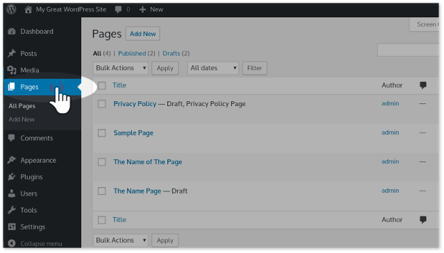 Pages Menu of WordPress Dashboard