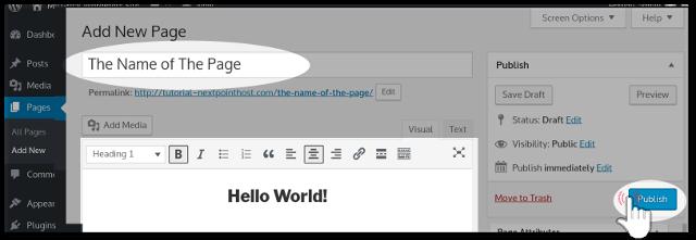Publishing New Page at WordPress Admin Dashboard