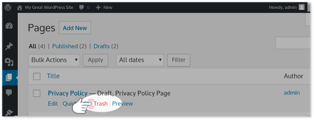 Delete WordPress Page with the Trash button