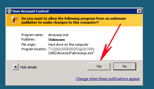 User Account Control (UAC) warning message