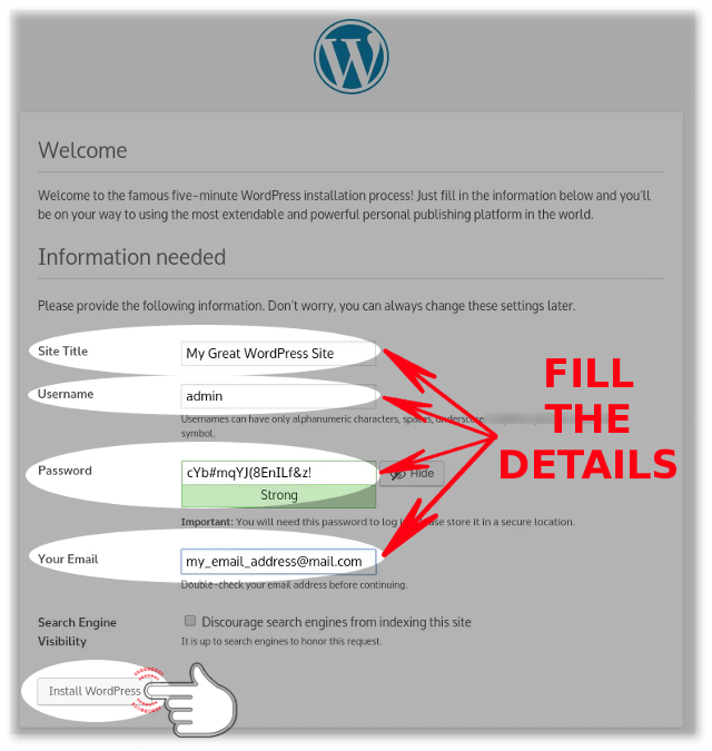 Filling the WordPress site name, admin credentials and etc during the installation