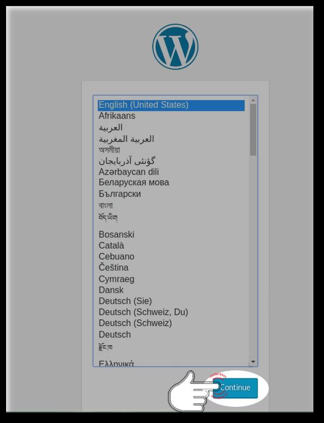 Choose Language of WordPress installation