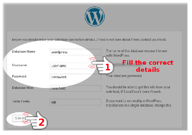 Fill the Database credentials for WordPress Installation wizard