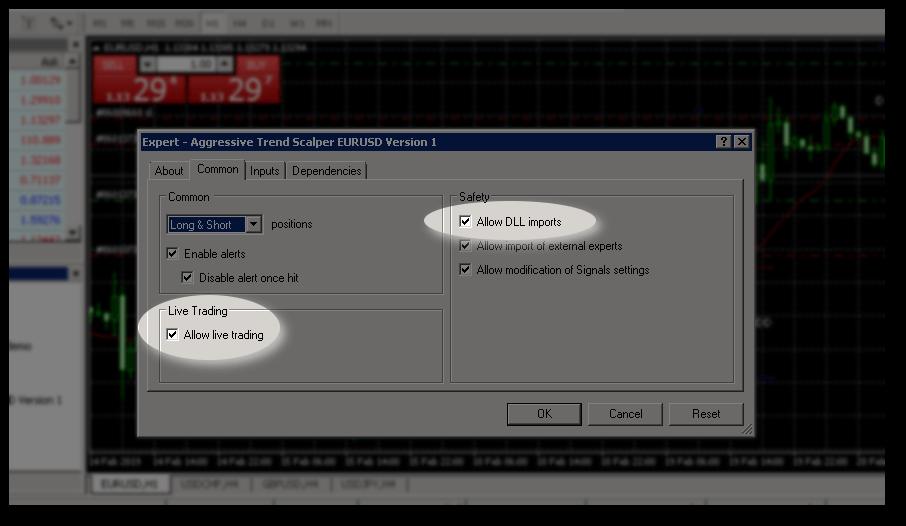 Common tab of MetaTrader 4 expert advisor settings