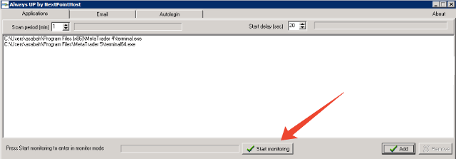 Start AlwaysUP monitoring